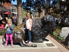 Delaney and Norah at the buffalo sculpture; Boulder