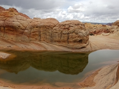 Pools of water gather after a heavy rain storm; Coyote Buttes North