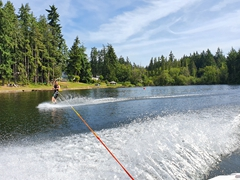 Luke makes wakeboarding look easy; Deer Lake on Whidbey Island