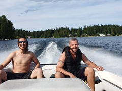 Luke and Robby relaxing on Deer Lake