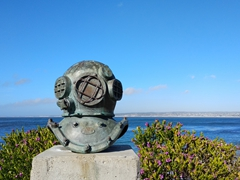 Old diving helmet; Monterey