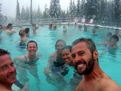 Everyone soaking up the warmth at Miette Hot Springs