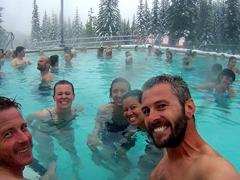 Everyone soaking up the warmth at Miette Hot Springs