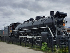 Old steam train next to the Jasper Train Station