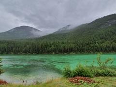 Emerald green lake; Jasper National Park