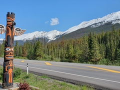 Totem poles; Icefields Parkway