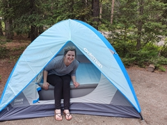 Ally's tent - no roughing it for her on this camping trip!