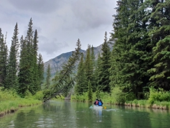 Canoeing down Echo Creek towards 1st Vermillion Lake