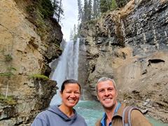 Taking a photo at the upper falls; Johnson Canyon