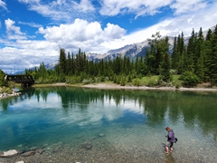 Lars wades into the Bow River