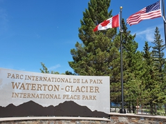 Waterton-Glacier international peace park sign
