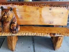 Carved bear bench; Waterton