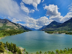 Magnificent view of Waterton Lake from the Prince of Wales hotel