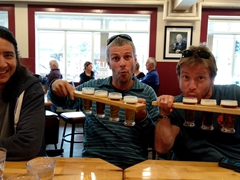 Luke, Robby and Lars with their beer flights; Half Hitch Brewing Company