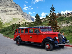 Red Bus Tours - a popular option for touring Glacier National Park