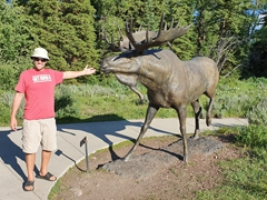 Robby with a moose statue; Craig Thomas visitor center