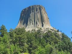 Soaring over 850 feet, Devils Tower is a popular technical rock climbing spot
