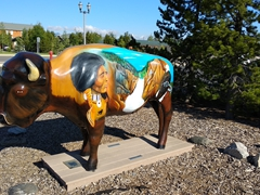 Painted buffalo outside of the Grizzly & Wolf Discovery Center