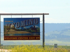 "We didn't see a ""Welcome to Wyoming"" sign until we entered South Dakota and turned around to look back!"