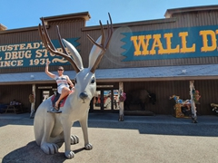 Riding the jackalope at Wall Drug