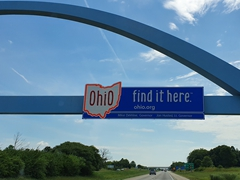 """Ohio - find it here"" welcome sign"
