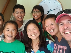Reunion with Becky's plebe roomie (Katina) and her lovely family: Umesh, Maya, Deven, Katina, and Asha; Cincinnati