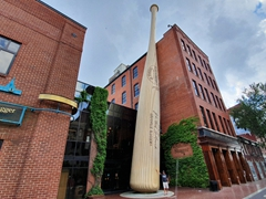 Louisville Slugger Museum - check out how tiny Robby looks at the base of the bat
