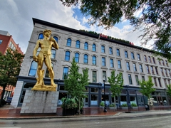 30 foot tall gold statue of David; outside Hotel 21c in Louisville