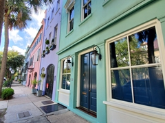 Rainbow Row, a series of 13 colorful historic homes in Charleston