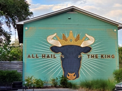 """All hail the king"" mural at Lewis Barbeque, Charleston's best brisket joint"