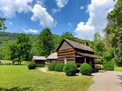 The Mountain Farm Museum consists of farm buildings from the 1900s that were relocated from their original locations in the Great Smoky Mountains NP