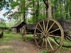 Historical exhibits at Mabry Mill; Blue Ridge Parkway