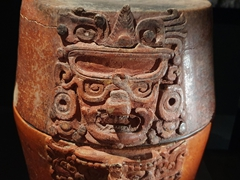 Face detail on a Maya ceramic; Library of Congress