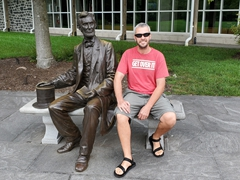 Robby poses with the Abraham Lincoln statue; Gettysburg