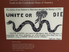 """Unite or die"" snake - slave states were urged to unite to preserve their way of life in this symbol of the Confederate cause"