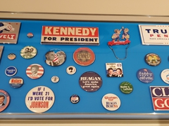 Voting stickers and buttons; Gettysburg Museum