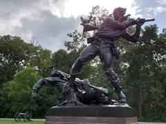 Union soldier swinging his rifle like a club - the State of Mississippi monument; Gettysburg
