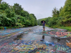 Robby on the abandoned graffiti highway; Centralia