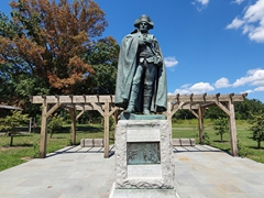 Statue of Baron von Steuben who trained the Continental army in close order drill; Valley Forge