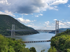 Purple Heart Memorial Bridge (used to be the Bear Mountain Bridge) spanning across the Hudson River