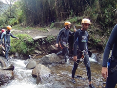 No experience, no problem - our adventurous group heads for the first cascade; Ulba Waterfall