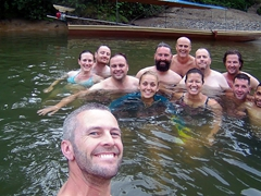 Taking a dip in the Amazon - Robby, Izzy, Brad, Burt, Hanna, Keith, Jason, Becky, Rob, Will, Danny & Leonardo