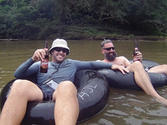 Robby and Keith enjoying their tubing ride down the Amazon