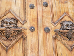 Carved door detail on a church in Quito