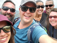 Group selfie - Rebecca, Keith, Burt, Becky, Robby and Amanda