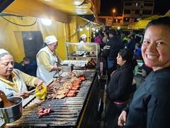 Street meat at the night market; Otavalo