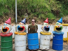 Clown garbage cans plus Robby!