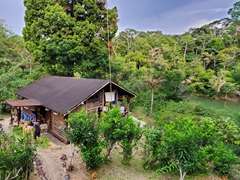 The common area of the jungle lodge where all shared meals and communal activities take place; Arajuno Jungle Lodge