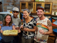 Cook group 2 (Lisa, Leonardo & Becky assisted by Danny) making a tasty lasagna for dinner