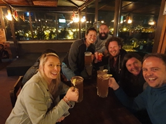 Our happy group enjoying a night out in Cuenca